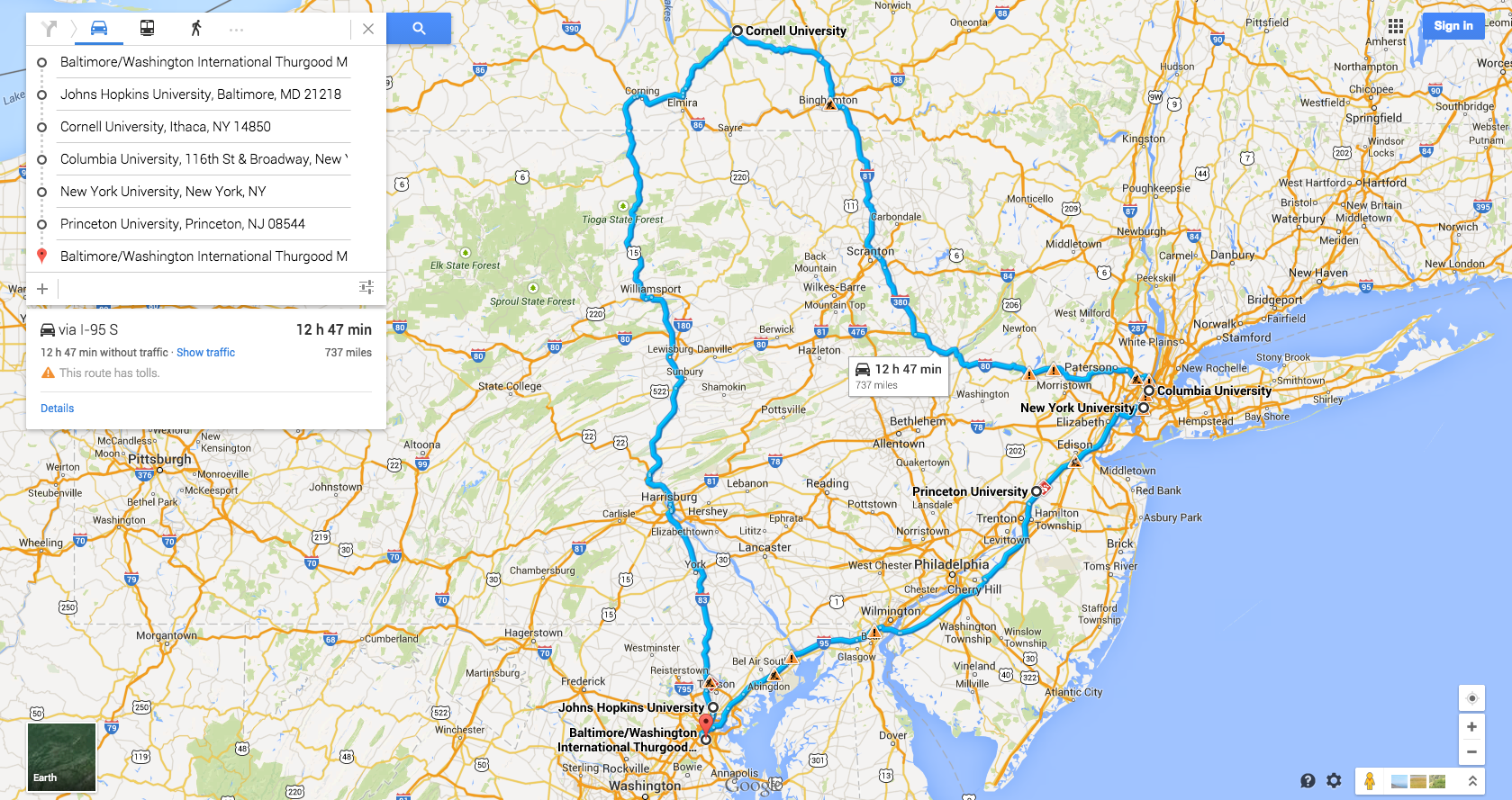 east coast college tour map foodie edition